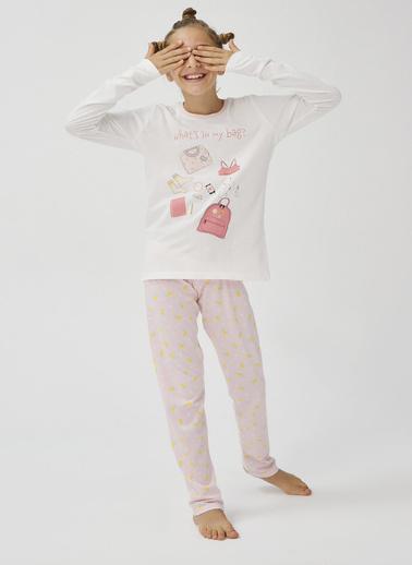 Penti Kız Çocuk Beyaz - Pembe Teen In My Bag 2'li Pijama Takım PNR0U8J020SK Beyaz